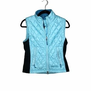 MARMOT Turquoise Quilted Puffer Vest Size Small